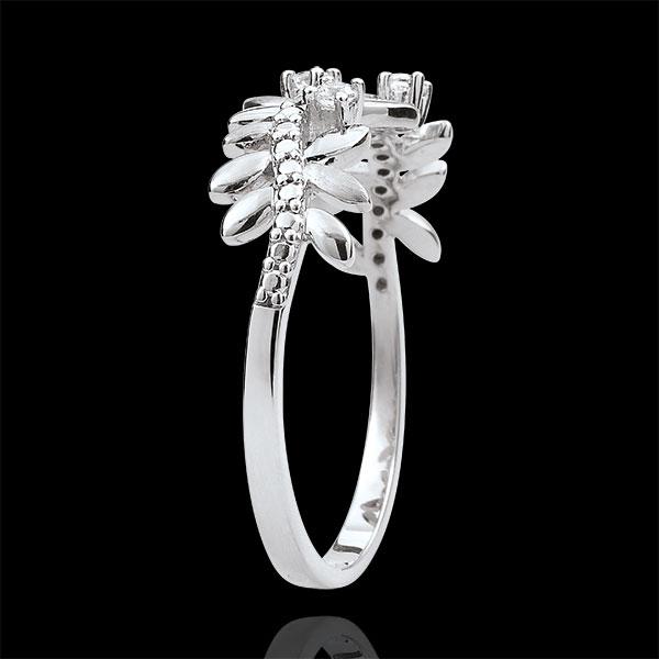 Pierścionek Zaczarowany Ogród - Królewskie Liście - duży model - diamenty i białe złoto 18-karatowe