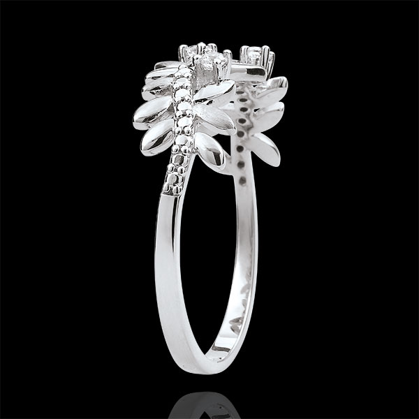 Pierścionek Zaczarowany Ogród - Królewskie Liście - duży model - diamenty i białe złoto 9-karatowe