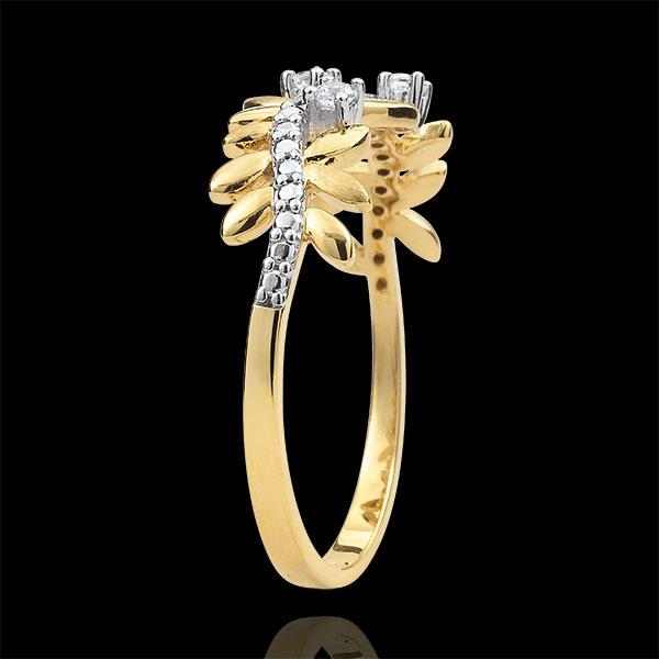 Pierścionek Zaczarowany Ogród - Królewskie Liście - duży model - diamenty i złoto żółte 9-karatowe