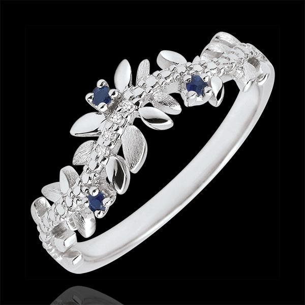 Pierścionek Zaczarowany Ogród - Królewskie Liście - złoto białe 18-karatowe, diamenty i szafiry
