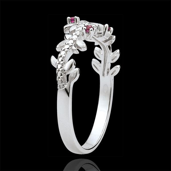 Pierścionek Zaczarowany Ogród - Królewskie Liście - złoto białe 9-karatowe, diamenty i rodolity