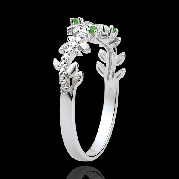 Pierścionek Zaczarowany Ogród - Królewskie Liście - złoto białe 9-karatowe, diamenty i szmaragdy