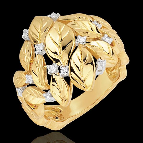Pierścionek Zaczarowany Ogród - Kunsztowna Rosa - złoto żółte 18-karatowe