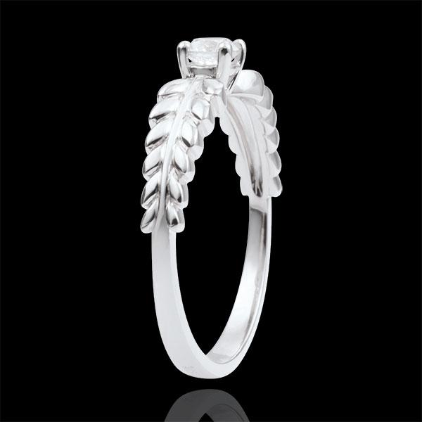Pierścionek Zaczarowany Ogród - Pierścionek Frezja z jednym diamentem - złoto białe 9-karatowe - 0,20 karata