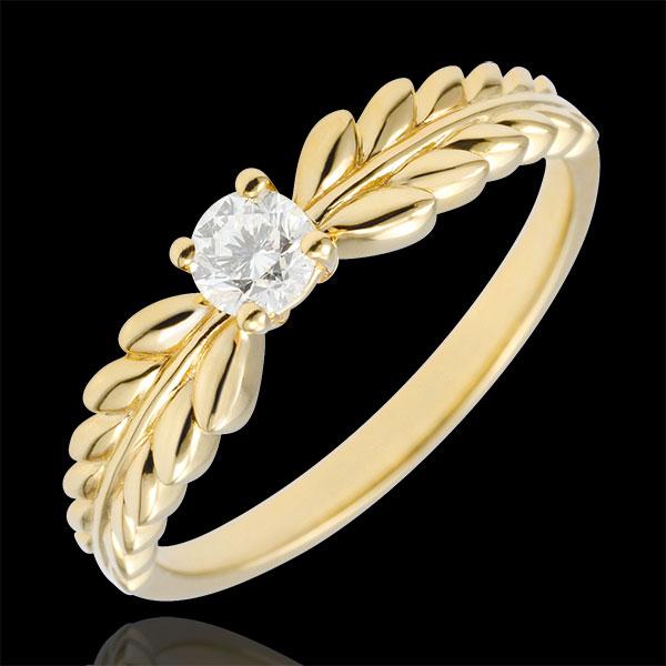 Pierścionek Zaczarowany Ogród - Pierścionek Frezja z jednym diamentem - złoto żółte 9-karatowe - 0,20 karata