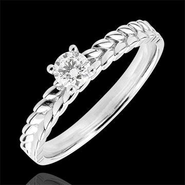 Pierścionek Zaczarowany Ogród - Pleciony pierścionek z jednym diamentem - złoto białe 9-karatowe - 0,2 karata