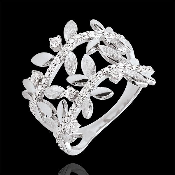 Pierścionek Zaczarowany Ogród - Podwójne Królewskie Liście - diamenty i białe złoto 9-karatowe