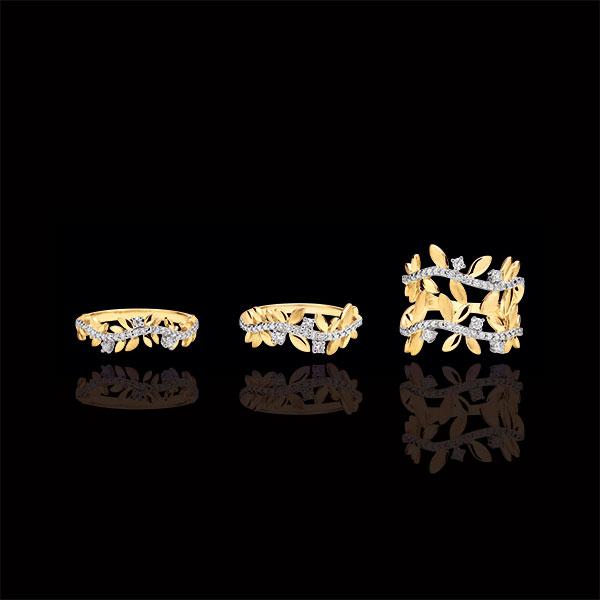 Pierścionek Zaczarowany Ogród - Podwójne Królewskie Liście - diamenty i złoto żółte 9-karatowe