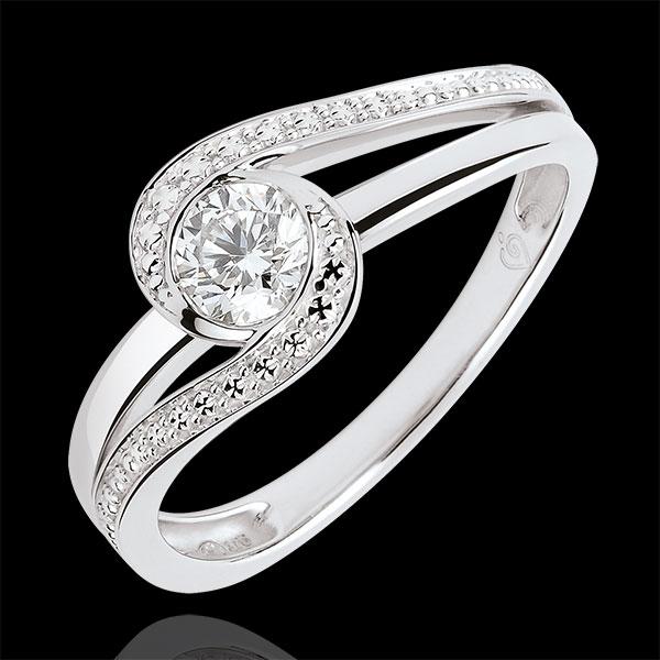 Pierścionek zaręczynowy Drogocenne Gniazdo - Preciosa - diament 0,3 karata - złoto białe 18-karatowe