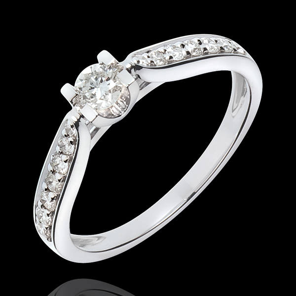 Pierścionek zaręczynowy Hrabina z jednym diamentem - diament 0,18 karata - złoto białe 18-karatowe