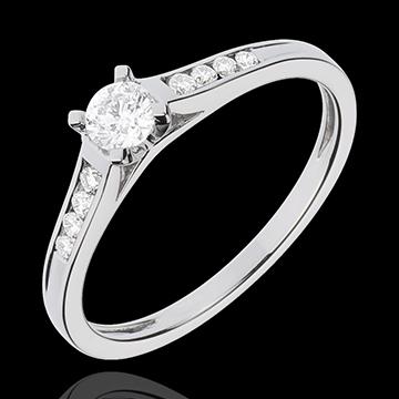 Pierścionek zaręczynowy Wzniosłość z białego złota z jednym diamentem - diament 0,20 karata - złoto białe 18-karatowe