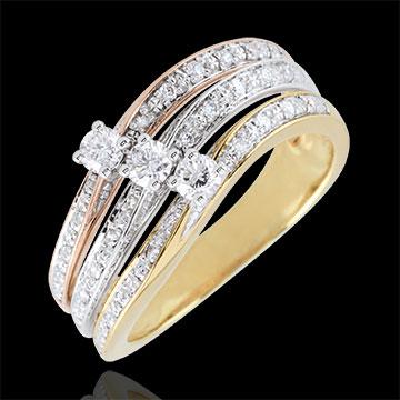 Pierścionek Duży Saturn z potrójnym diamentem - trzy rodzaje złota - 0,372 karata - trzy rodzaje złota 18-karatowego