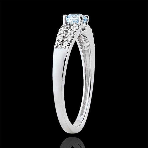 Pierścionek zaręczynowy Margot - akwamaryn 0,23 karata i diamenty - złoto białe 18-karatowe