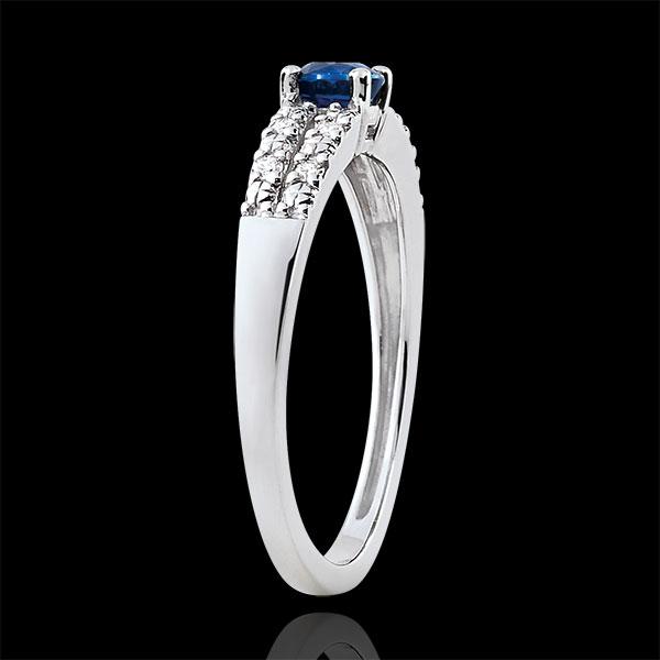 Pierścionek zaręczynowy Margot - szafir 0,37 karata i diamenty - złoto białe 18-karatowe
