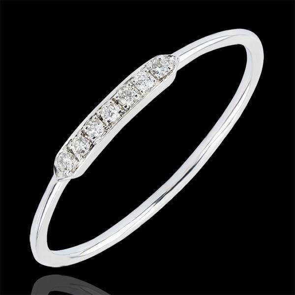 Pierścionek zaręczynowy Obfitość – Equilibrio – białe złoto 9-karatowe z diamentami