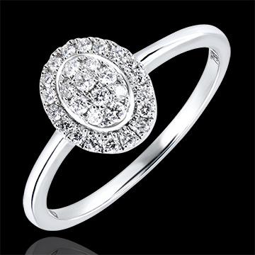 Pierścionek zaręczynowy Obfitość – Klaster – białe złoto 18-karatowe z diamentami