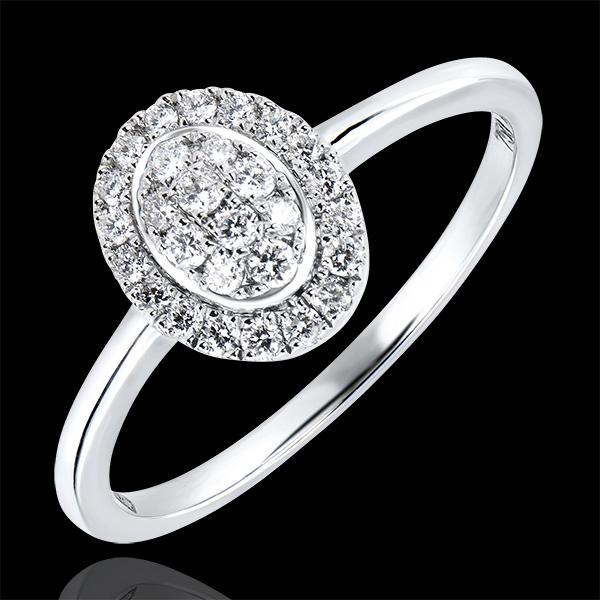 Pierścionek zaręczynowy Obfitość – Klaster – białe złoto 9-karatowe z diamentami