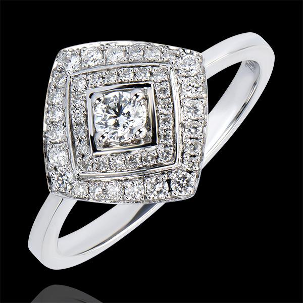 Pierścionek zaręczynowy Obfitość – Podwójny rząd kamieni w geometrycznej formie – białe złoto 18-karatowe z diamentami