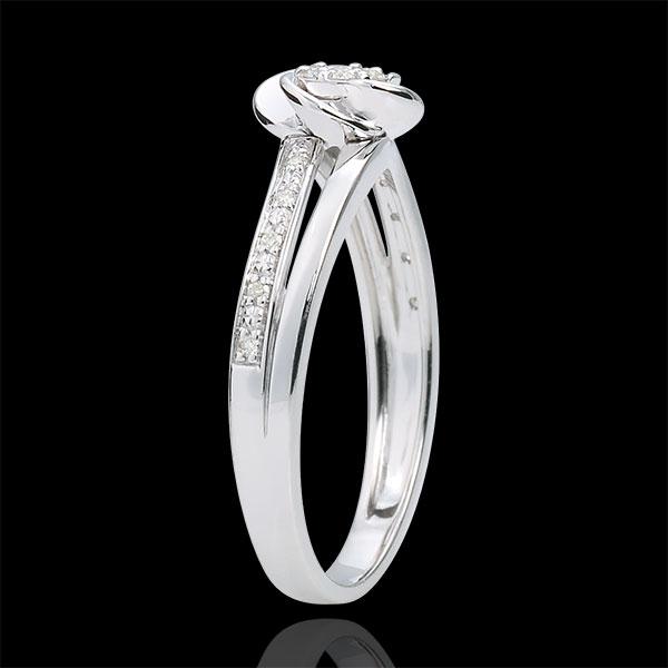 Pierścionek zaręczynowy Płatki Róży z białego złota 9-karatowego - 0,075 karata