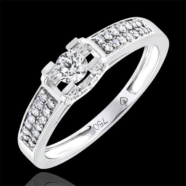 Pierścionek zaręczynowy Pochodzenie – Bogini – białe złoto 9-karatowe z diamentami