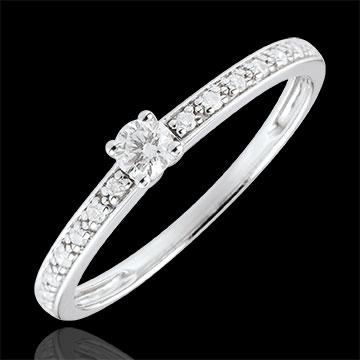 Pierścionek zaręczynowy Północ z białego złota z jednym diamentem - 0,09 karata - złoto białe 9-karatowe