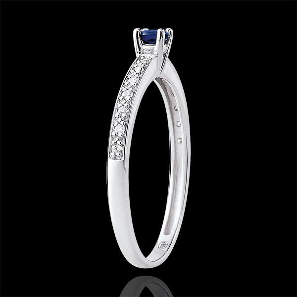 Pierścionek zaręczynowy Północ z kamieniem środkowym - szafir 0,12 karata i diamenty - złoto białe 9-karatowe