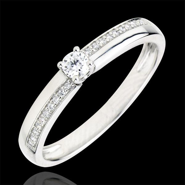 Pierścionek zaręczynowy Przeznaczenie - Cud - diament 0,1 karata - złoto białe 18-karatowe