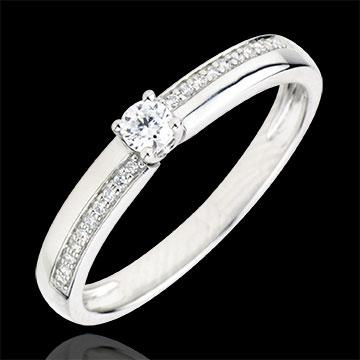 Pierścionek zaręczynowy Przeznaczenie - Cud - diament 0,1 karata - złoto białe 9-karatowe