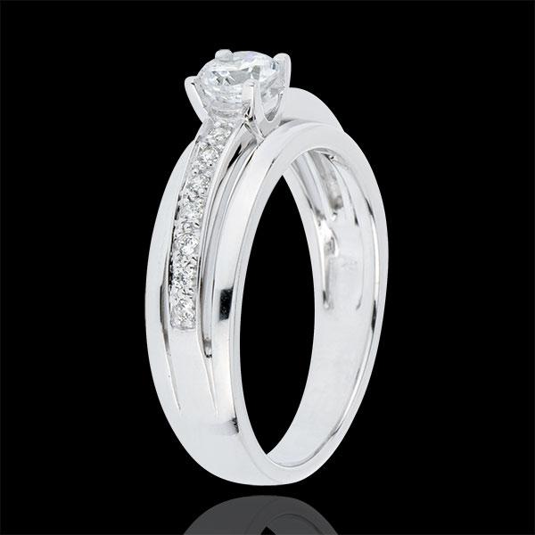 Pierścionek zaręczynowy Przeznaczenie z jednym diamentem - Moja Królowa - duży model - złoto białe 18-karatowe - diament 0,33 ka