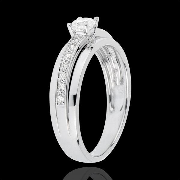 Pierścionek zaręczynowy Przeznaczenie z jednym diamentem - Moja Królowa - Mały model - złoto białe 18-karatowe - diament 0,20 ka