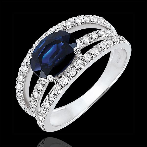 Pierścionek zaręczynowy Przeznaczenie - Księżna wariacja - szafir 1,7 karata i diamenty - złoto białe 18-karatowe