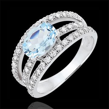 Pierścionek zaręczynowy Przeznaczenie - Księżna wariacja - topaz 1,5 karata i diamenty - złoto białe 18-karatowe