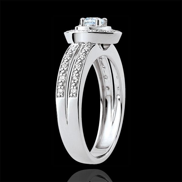 Pierścionek zaręczynowy Przeznaczenie - Lady - akwamaryn 0,18 karata i diamenty - złoto białe 18-karatowe