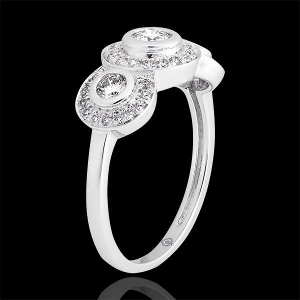 Pierścionek zaręczynowy Przeznaczenie - Trianon - białe złoto 18-karatowe wysadzane diamentami