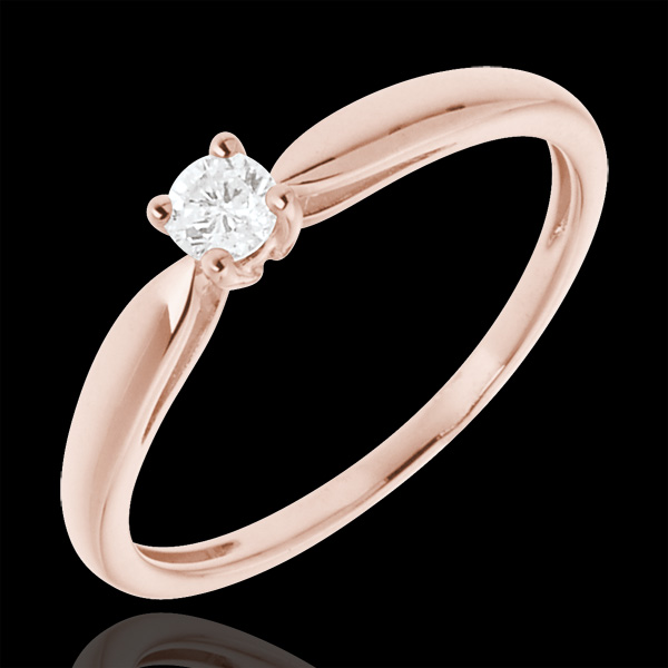 Pierścionek zaręczynowy z różowego złota 18-karatowego z jednym diamentem - 0,1 karata