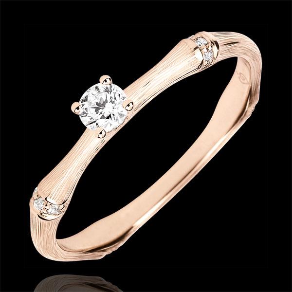 Pierścionek zaręczynowy Święta Dżungla - diament 0,09 karata - złoto różowe szczotkowane 18-karatowe