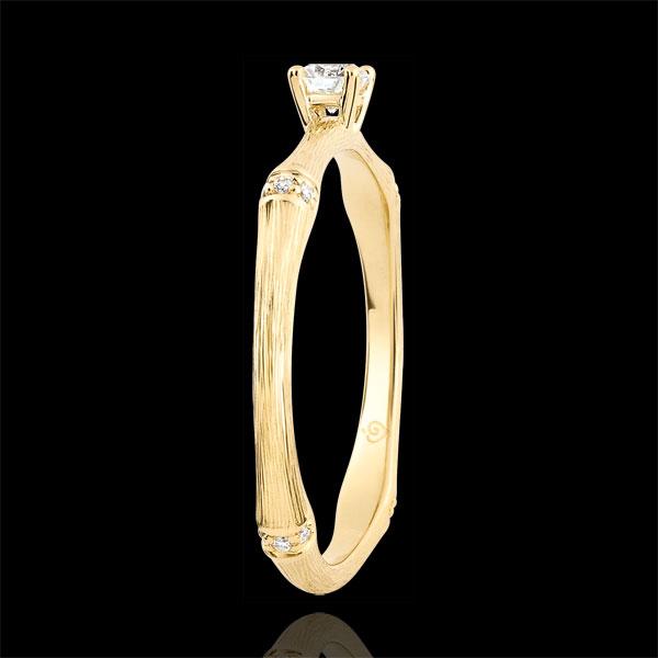 Pierścionek zaręczynowy Święta Dżungla - diament 0,09 karata - złoto żółte szczotkowane 9-karatowe