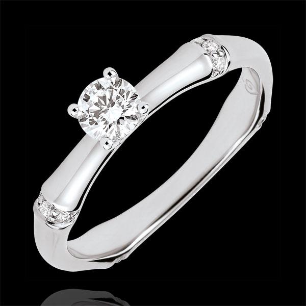 Pierścionek zaręczynowy Święta Dżungla - diament 0,2 karata - złoto białe 9-karatowe