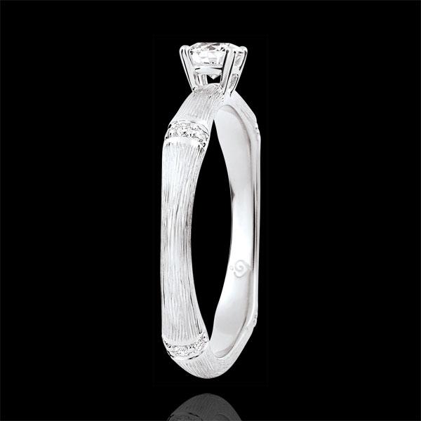Pierścionek zaręczynowy Święta Dżungla - diament 0,2 karata - złoto białe szczotkowane 9-karatowe