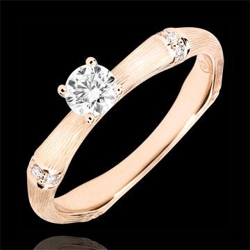 Pierścionek zaręczynowy Święta Dżungla - diament 0,2 karata - złoto różowe szczotkowane 18-karatowe