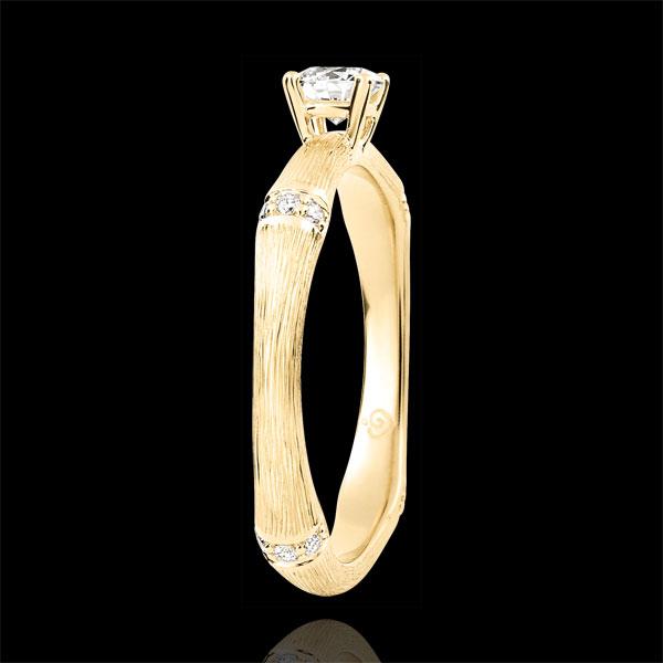 Pierścionek zaręczynowy Święta Dżungla - diament 0,2 karata - złoto żółte szczotkowane 9-karatowe