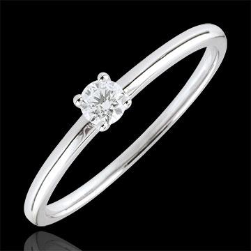 Pierścionek zaręczynowy Tak z białego złota z jednym diamentem - 0,1 karata - złoto białe 18-karatowe