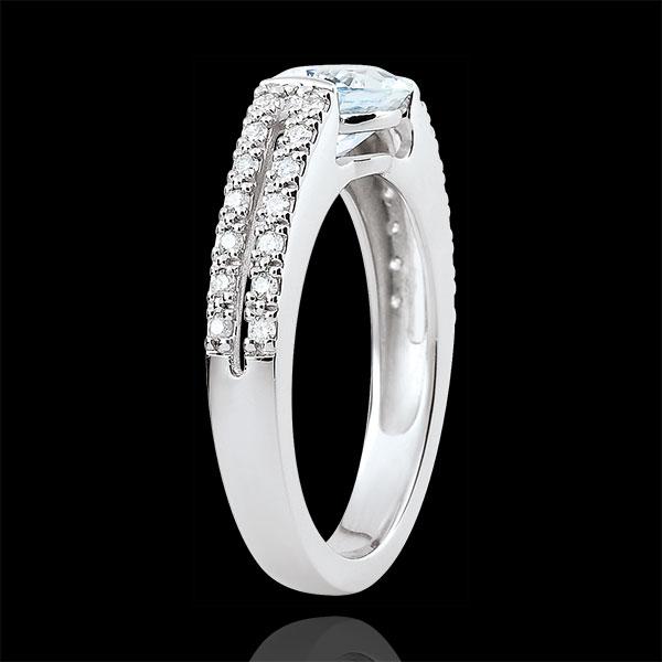 Pierścionek zaręczynowy Wiktoria - akwamaryn 1,2 karata i diamenty - złoto białe 18-karatowe