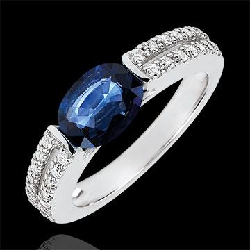 Pierścionek zaręczynowy Wiktoria - szafir 1,7 karata i diamenty - złoto białe 18-karatowe
