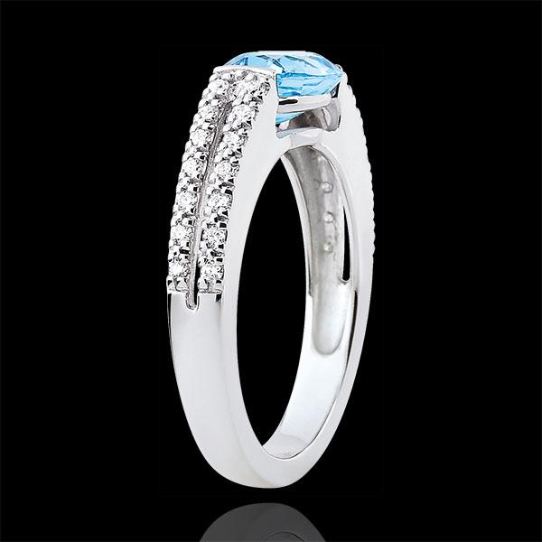 Pierścionek zaręczynowy Wiktoria - topaz 1,5 karata i diamenty - złoto białe 18-karatowe