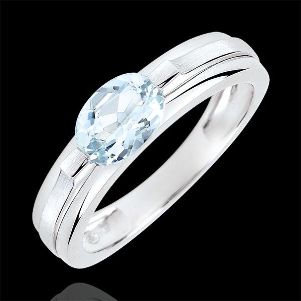 Pierścionek zaręczynowy Wiktoria wariacja - akwamaryn 0,65 karata. - złoto białe 18-karatowe