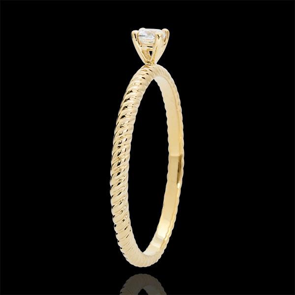 Pierścionek Złota Lina z jednym diamentem - złoto żółte 9-karatowe