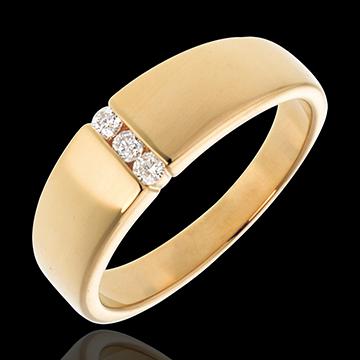 Pierścionek z żółtego złota 18-karatowego z trzema wtłoczonymi diamentem - 3 diamenty
