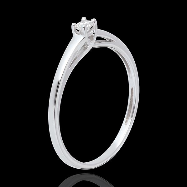 Podstawowa wersja pierścionka z jednym diamentem z 18-karatowego złota białego - 0,08 karata