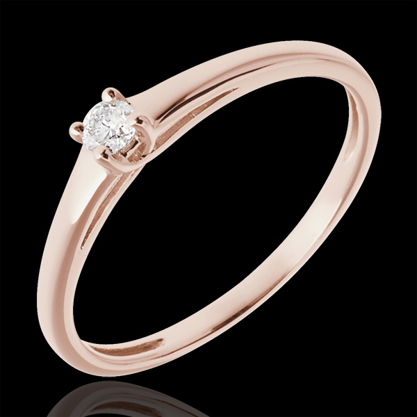 Podstawowa wersja pierścionka z jednym diamentem z 18-karatowego złota różowego - 0,08 karata